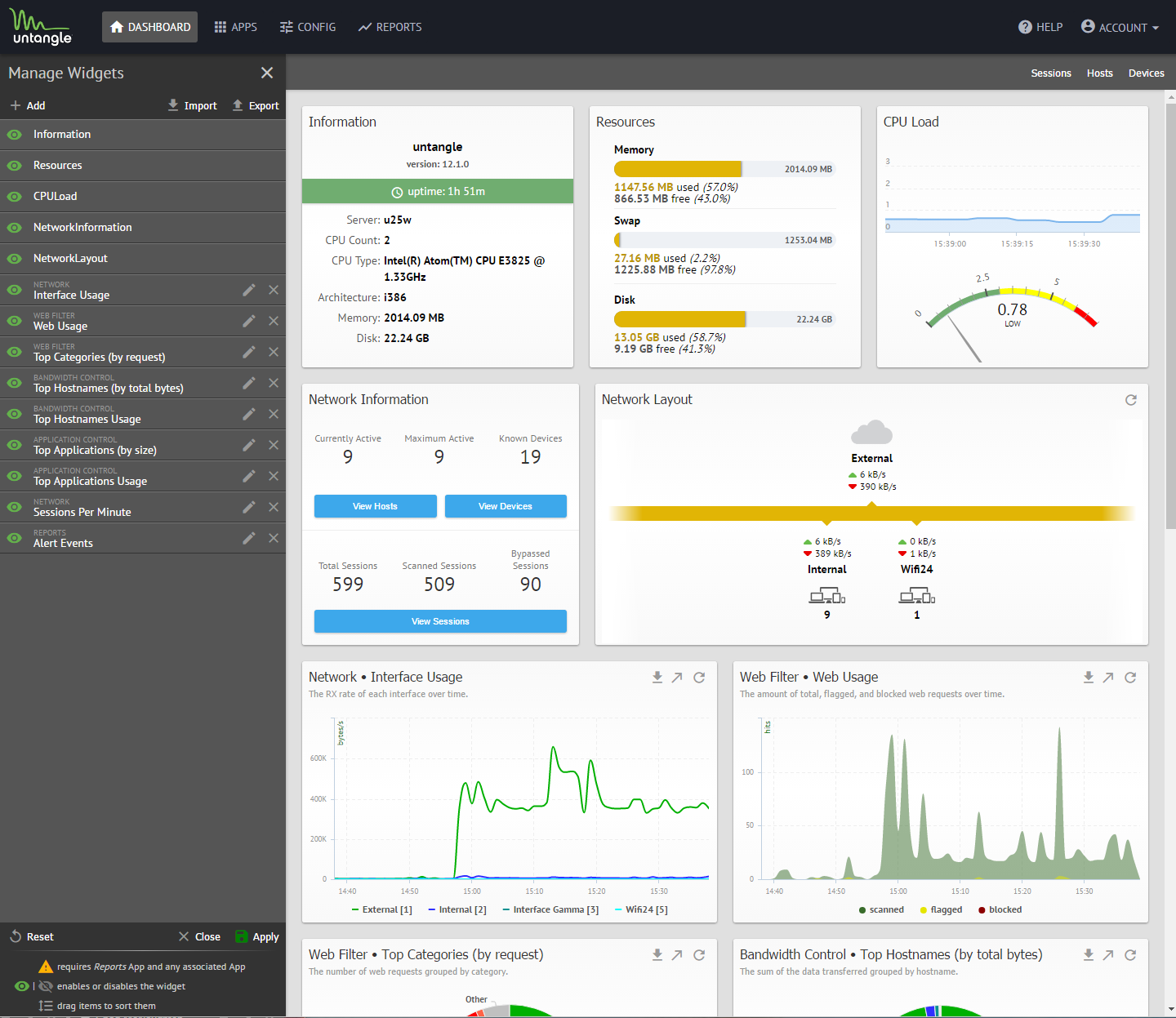Untangle Features Dashboard